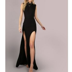 Black Sleeveless Slit Sexy Cocktail Maxi Dress M